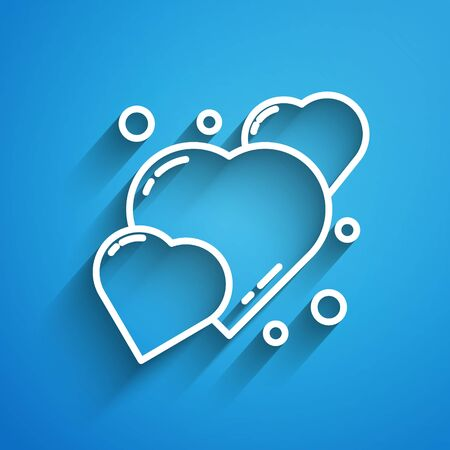 White line Heart icon isolated on blue background. Romantic symbol linked, join, passion and wedding. 8 March. Happy Women Day. Long shadow