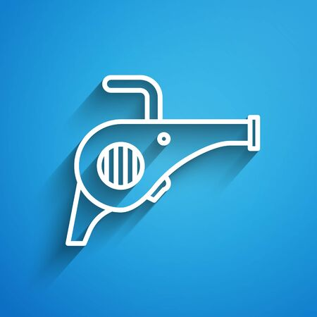 White line Leaf garden blower icon isolated on blue background. Long shadow Stock Illustratie
