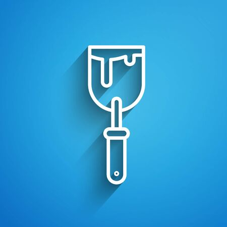White line Putty knife icon isolated on blue background. Spatula repair tool. Spackling or paint instruments. Long shadow