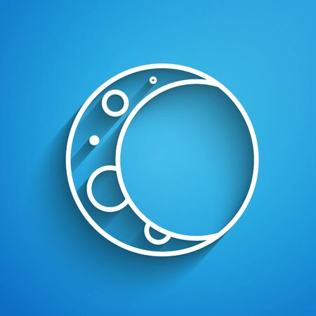 White line Moon icon isolated on blue background. Long shadow