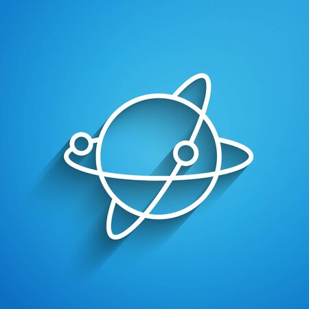 White line Artificial satellites orbiting the planet Earth in outer space icon isolated on blue background. Communication, navigation concept. Long shadow
