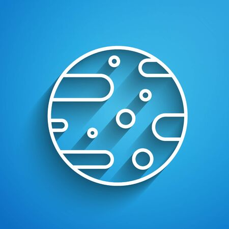 White line Satellite dish icon isolated on blue background. Radio antenna, astronomy and space research. Long shadow