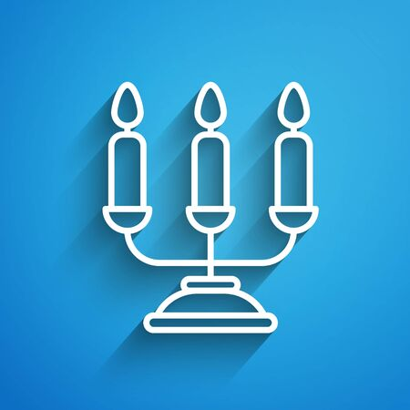 White line Candelabrum with three candlesticks icon isolated on blue background. Long shadow Иллюстрация