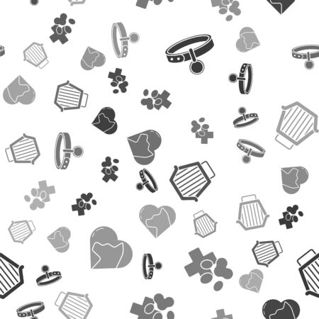 Set Collar with name tag, Veterinary clinic symbol, Pet carry case and Heart with cat on seamless pattern
