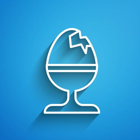White line Chicken egg on a stand icon isolated on blue background. Happy Easter. Long shadow