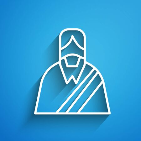 White line Jesus Christ icon isolated on blue background. Long shadow