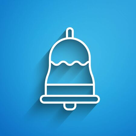 White line Ringing bell icon isolated on blue background. Alarm symbol, service bell, handbell sign, notification symbol. Long shadow Illustration