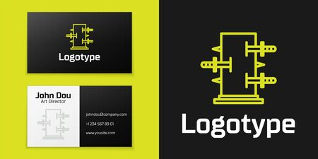 Logotype line Magic box, trunk for magic tricks icon isolated on black background. Show with knives, piercing the box with swords.