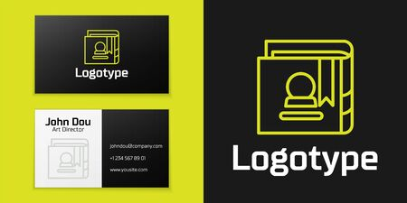 Logotype line Ancient magic book with alchemy recipes and mystic spells and enchantments icon isolated on black background.