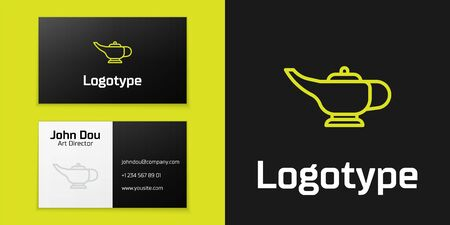 Logotype line Magic lamp or Aladdin lamp icon isolated on black background. Spiritual lamp for wish.