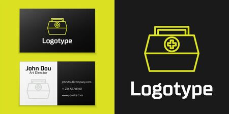 Logotype line First aid kit icon isolated on black background. Medical box with cross. Medical equipment for emergency. Healthcare concept.