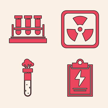 Set Laboratory clipboard with checklist, Test tube and flask chemical, Radioactive and Test tube and flask chemical icon