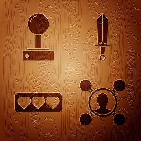 Set Share, Joystick for arcade machine, Like and heart and Sword for game on wooden background