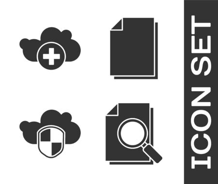 Set Document with search, Add cloud, Cloud and shield and Document icon