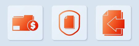 Set Document protection concept, Finance document folder and Next page arrow. White square button Иллюстрация