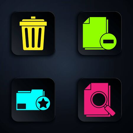 Set Document with search, Trash can, Document folder with star and Document with minus. Black square button