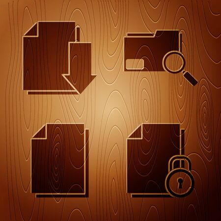 Set Document and lock, Document with download, Document and Search concept with folder on wooden background