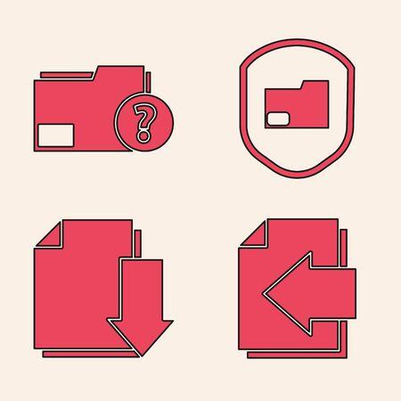 Set Next page arrow, Unknown document folder, Document folder protection and Document with download icon