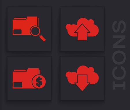 Set Cloud download, Search concept with folder, Cloud upload and Finance document folder icon Иллюстрация