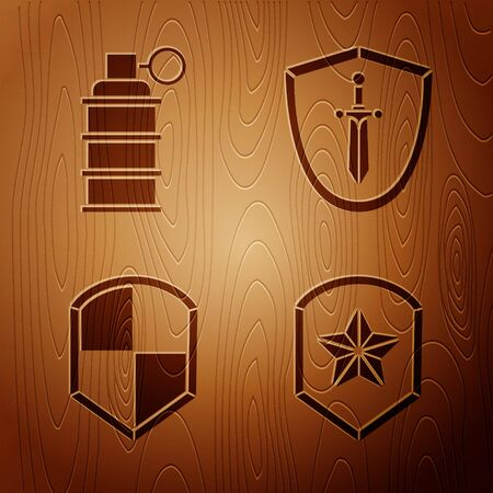 Set Police badge, Hand grenade, Shield and Medieval shield with sword on wooden background Illustration