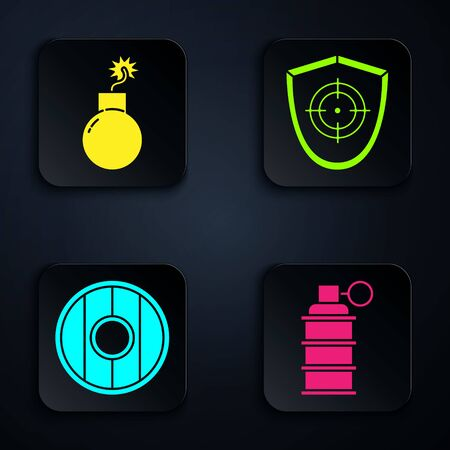 Set Hand grenade, Bomb ready to explode, Round wooden shield and Target sport. Black square button