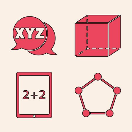 Set Geometric figure Pentagonal prism, XYZ Coordinate system, Geometric figure Cube and Tablet with calculator icon