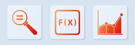 Set Function mathematical symbol, Calculation and Graph, schedule, chart, diagram. White square button
