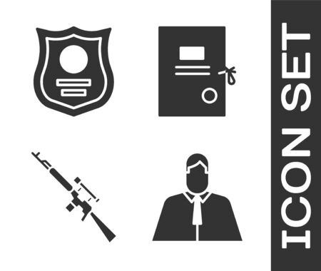 Set Lawyer, attorney, jurist, Police badge, Sniper rifle with scope and Lawsuit paper icon