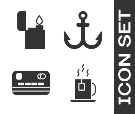 Set Cup of tea with tea bag, Lighter, Credit card and Anchor icon