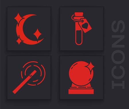 Set Magic ball, Moon and stars, Bottle with love potion and Magic wand icon