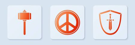 Set Peace, Battle hammer and Medieval shield with sword. White square button. Vector Stock Illustratie