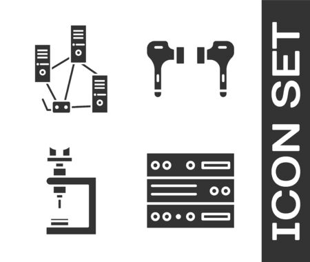 Set Server, Data, Web Hosting, Computer network, Microscope and Air headphones icon