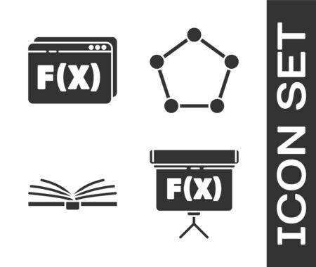Set Chalkboard, Function mathematical symbol, Open book and Geometric figure Pentagonal prism icon Stock Illustratie