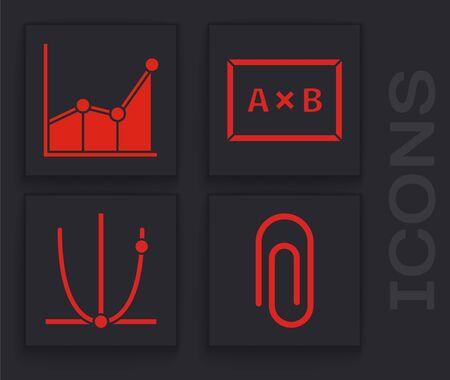 Set Paper clip, Graph, schedule, chart, diagram, Chalkboard and Graph, schedule, chart, diagram icon