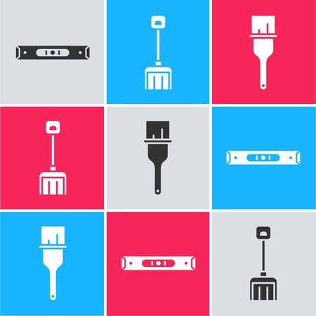 Set Construction bubble level, Snow shovel and Paint brush icon Stock Illustratie