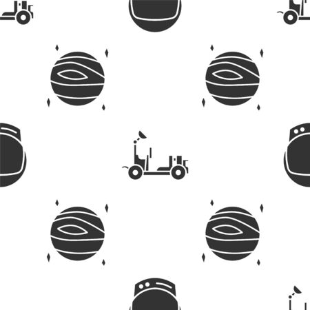 Set Astronaut helmet, Mars vehicle and Planet Venus on seamless pattern