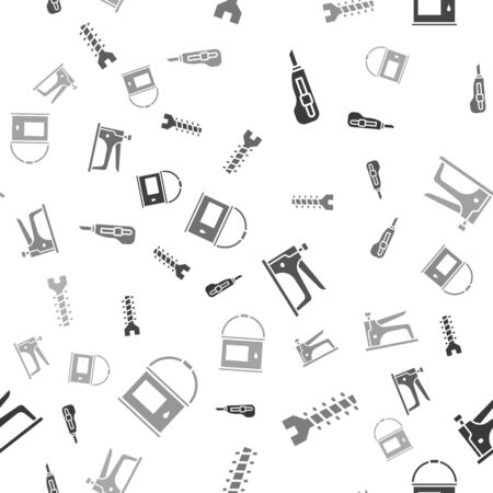 Set Stationery knife, Metallic screw, Construction stapler and Paint bucket on seamless pattern