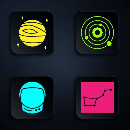 Set Great Bear constellation, Planet Venus, Astronaut helmet and Solar system. Black square button