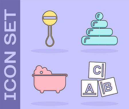 Set ABC blocks, Rattle baby toy, Baby bathtub and Pyramid toy icon