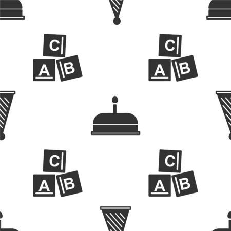 Set Party hat, Cake with burning candles and ABC blocks on seamless pattern