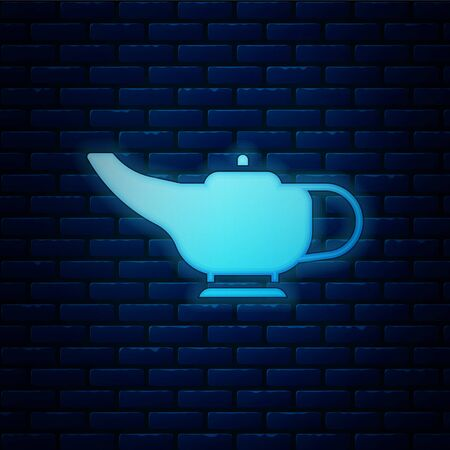 Glowing neon Magic lamp lamp icon isolated on brick wall background. Spiritual lamp for wish