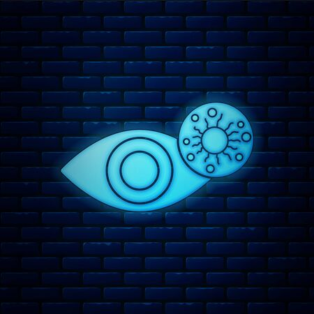Glowing neon Reddish eye due to virus, bacterial or allergic conjunctivitis icon isolated on brick wall background