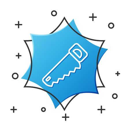 White line Hand saw icon isolated on white background. Blue hexagon button