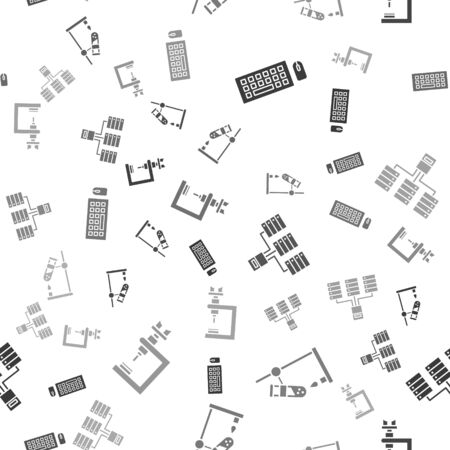 Set Keyboard and mouse, Test tube flask on fire, Server, Data, Web Hosting and Microscope on seamless pattern