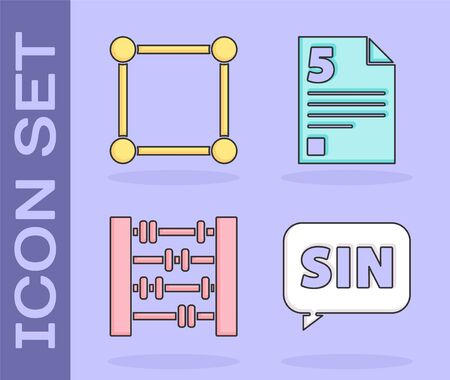 Set Mathematics function sine, Geometric figure Square, Abacus and Test or exam sheet icon