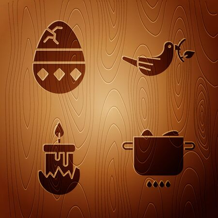 Set Egg in hot pot, Cracked egg, Burning candle and Peace dove with olive branch on wooden background. Vector