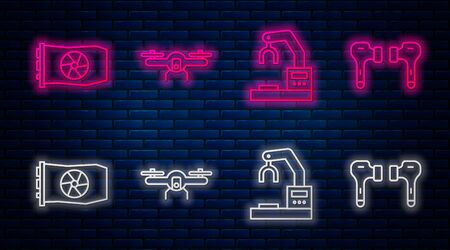 Set line Drone flying, Robotic robot arm hand factory, Video graphic card and Air headphones. Glowing neon icon on brick wall