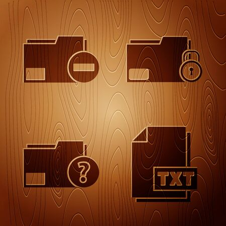 Set TXT file document, Document folder with minus, Unknown document folder and Folder and lock on wooden background