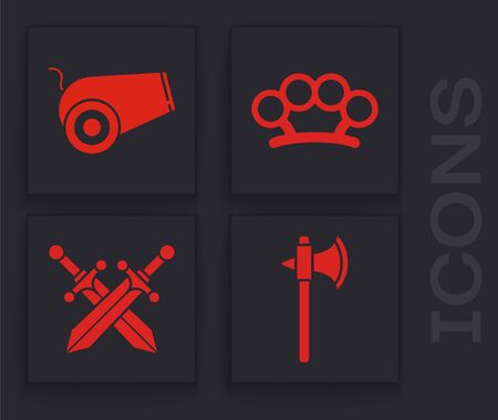 Set Medieval axe, Cannon, Brass knuckles and Crossed medieval sword icon