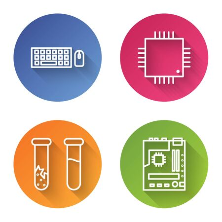 Set line Keyboard and mouse, Processor with microcircuits CPU, Test tube and flask and Motherboard. Color circle button Illustration
